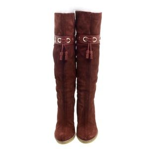 Gucci Maroon Suede Fur Lined Knee High Sz …
